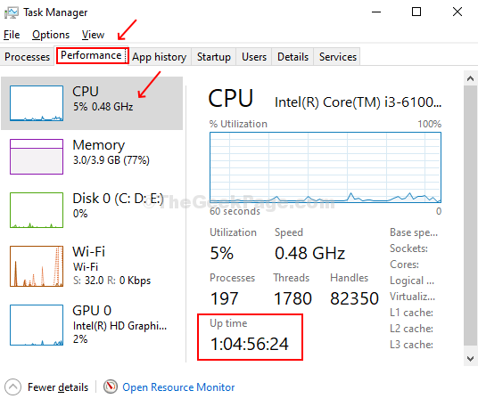Click On Performance Tab, Check Uptime At The Bottom Of The Page