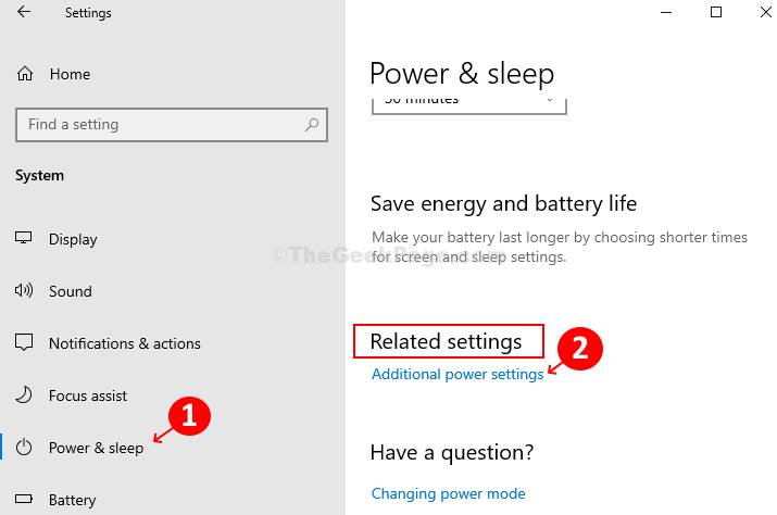 Click On Power & Sleep On Left, Click On Additional Power Settings On Right