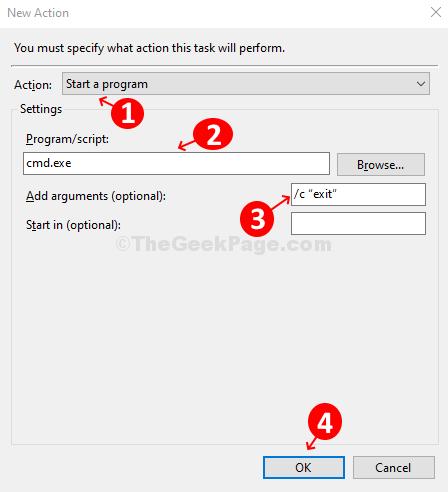 Configure A New Action, Set Program Or Script And Add Arguments