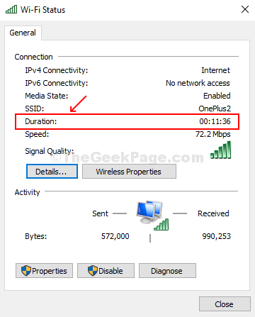 Find Duration Filed Under Connections In Status Window To Check Uptime
