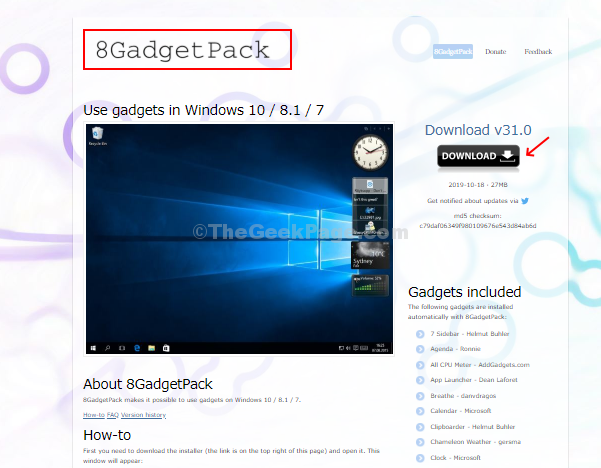 Go To 8gadgetpack Website And Click On Download