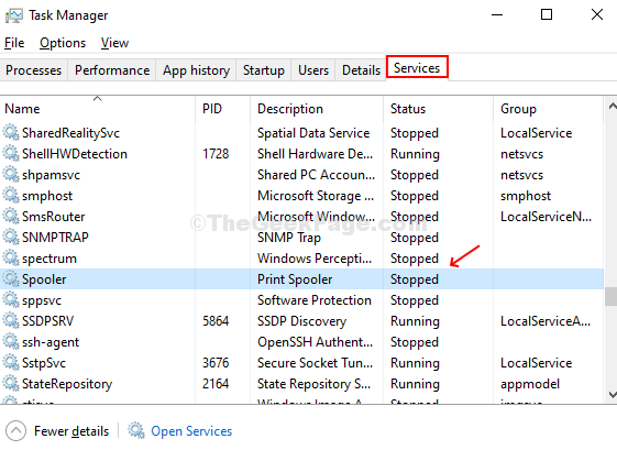 In Task Manager Window, Click On Services Tab, Scroll Down To Spooler And Check Status
