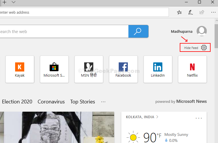 In A New Tab Click on Hide Feed With Gear Sign Above Top Sites Area On The Right