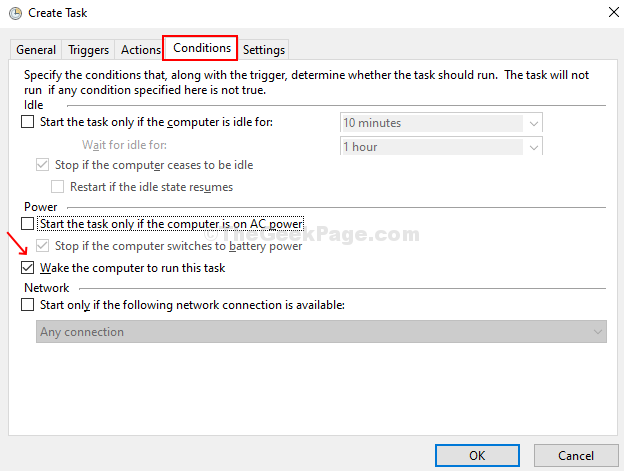 In The Conditions Tab, Follow The Instruction To Automatically Wake Up The Computer