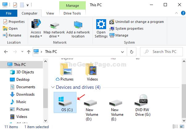 Open File Explorer, Click On C Folder