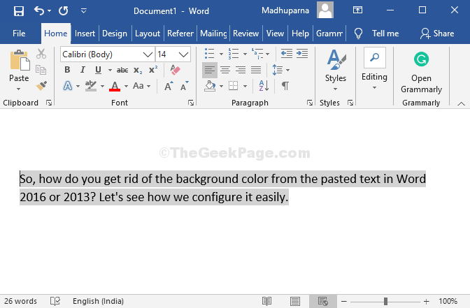 Pasted Text In Word 2016 Or 2013 With Background Color