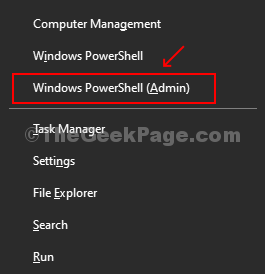 Press Win + X, Click On Windows Powershell (admin) From Menu