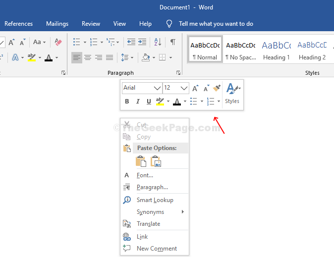 Right Click Mini Tool Bar In Word