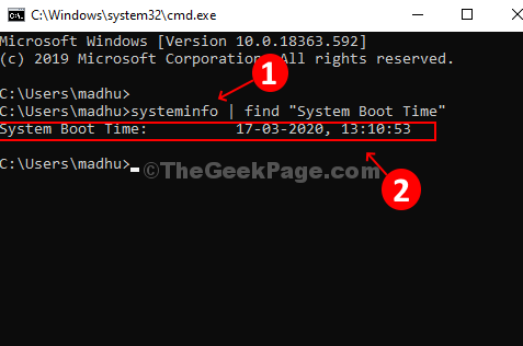 Run Command In Command Prompt, Hit Enter, And Find The System Boot Time