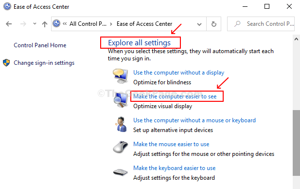 Scroll Down To Explore All Settings, Click On Make The Computer Easier To See