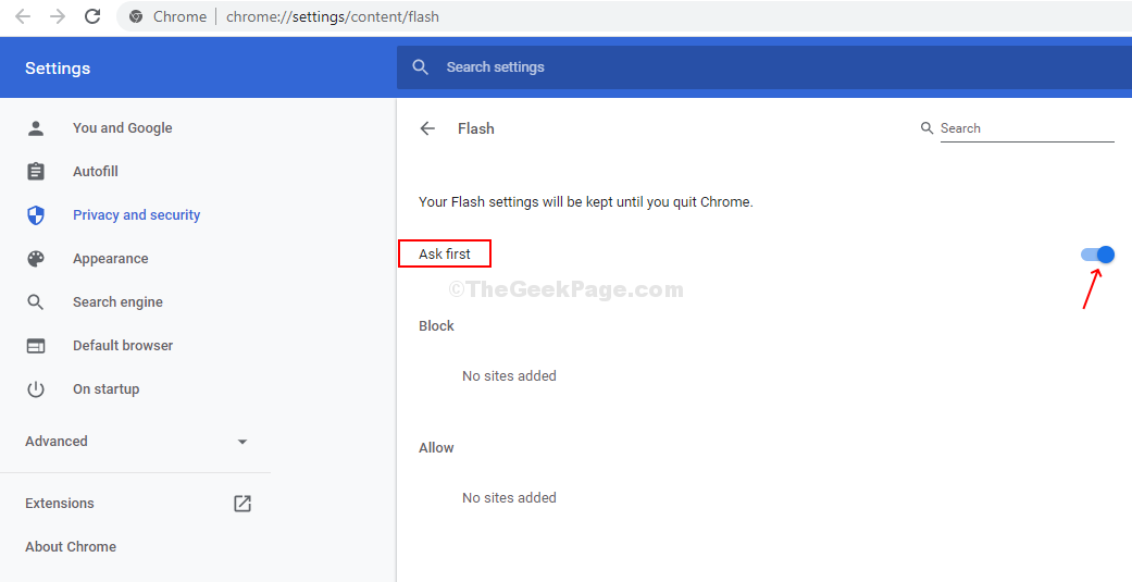 The Block Sites From Running Flash Option Will Change To Ask First