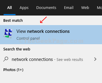 Type Network Connection In The Search Box And Click On The Result View Network Connections