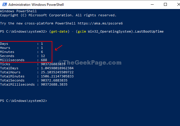 Type This Command In Powershell And Hit Enter To Find Theuptime Details