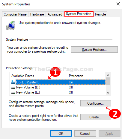 Under The Protection Tab, Select The Desired Drive, And Click On The Configure Buton