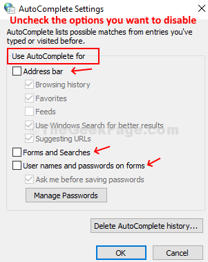 Under Autocomplete Settings, Uncheck The Options You Want To Disbale