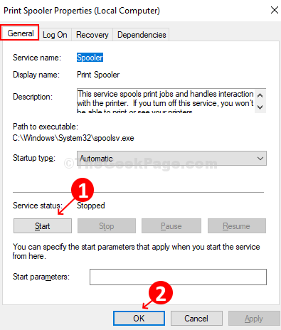 Under General Tab, Under Service Status Option, Click On Start