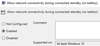 Allow Network Connectivity Enabled