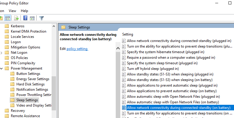 Allow Network Connectivity Min