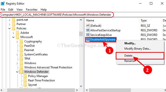 Delete Disable Antispyware