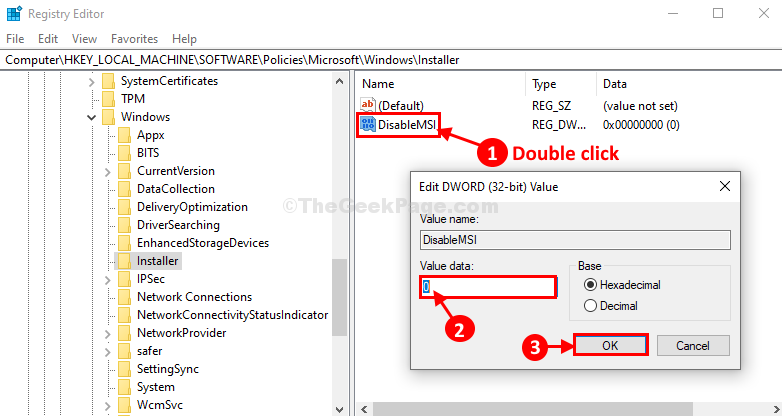 Disable Msi Doubel Click
