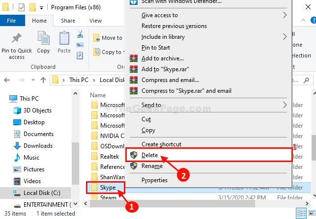 Skype Delete Folder