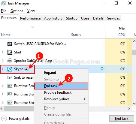 Skype End Task