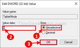 Tablet Mode Value Data