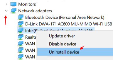 Uninstall Device Network