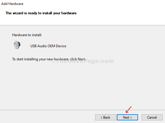 Add Hardware Start Installing New Hardware Next