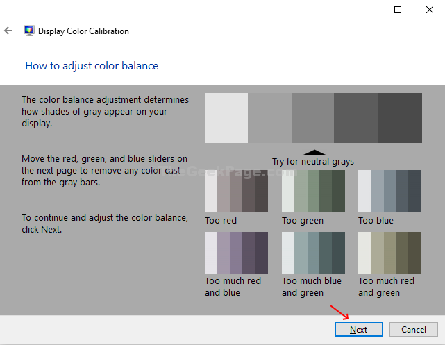 Adjust Color Balance Instructions Next