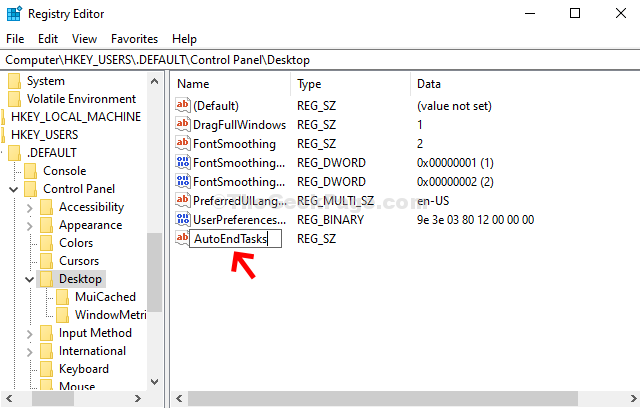 Admin Name The New String Value Autoendtasks