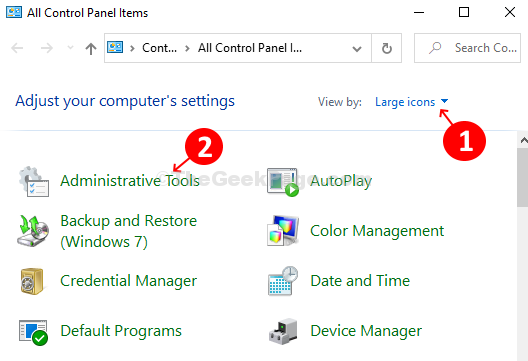 View by Large Icons Administrative Tools Windows Memory Diagnostic