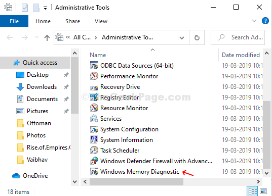 Administrayive Tools Windows Memory Diagnostic