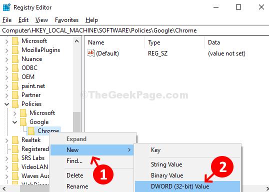 Chrome Right Click New Dword (32 Bit) Value