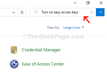 Control Panel Search Turn On Easy Access Keys