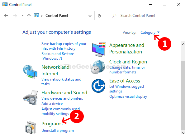 Control Panel View By Category Programs