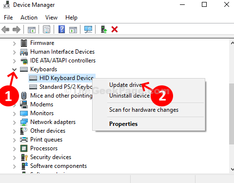 Device Manager Keyboard Hid Keyboard Device Right Click Update Driver
