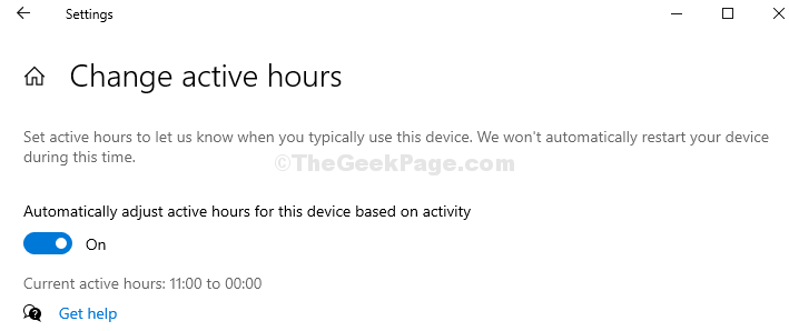Enable Automatic Active Hours