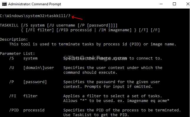 Execute Coomand Taskkill Execute Command With Pid