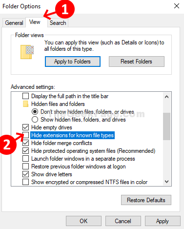 Folder Options View Tab Uncheck Hide Extension For Known File Types