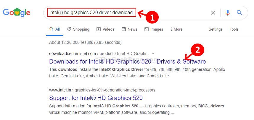 Google Search Graphics Card Name Driver Download 1st Result