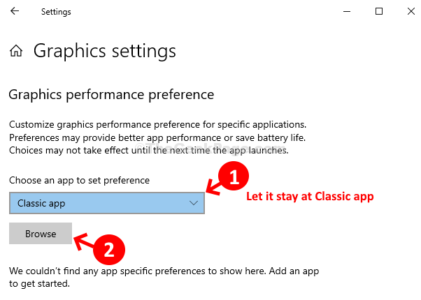 Graphics Settings Window Choose An App To Set Preference Browse