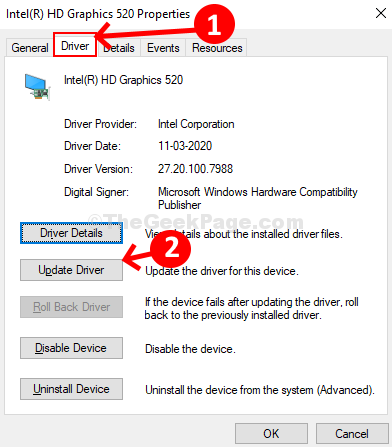 Graphics Card Properties Dialog Driver Tab Update Driver