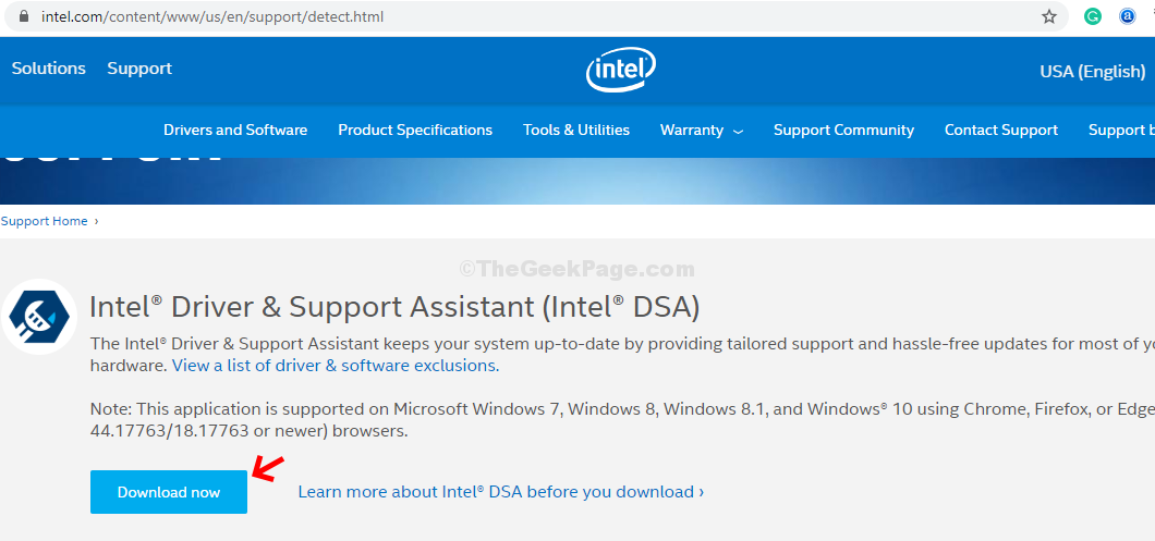 Intel Support Page Download
