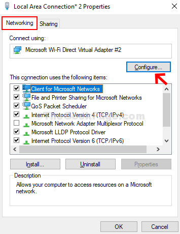 Local Area Connection Properties Networking Configure