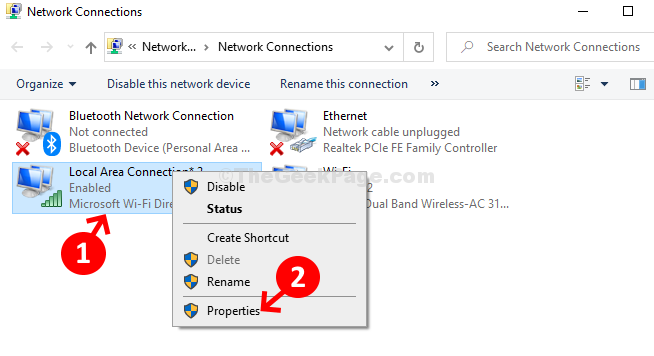 Local Area Connection Right Click Properties