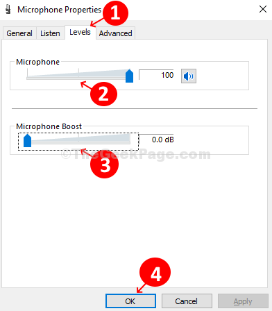 Microphone Properties Levels Tab Microsphone Slider Up Microphone Boost Slider Dow