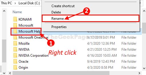 Microsoft Help Rename