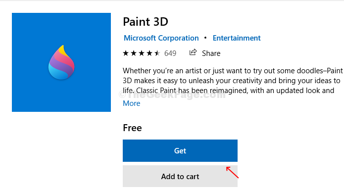 Microsoft Store Search Box Paint 3d Get