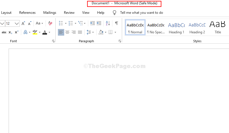 Microsoft Word Safe Mode